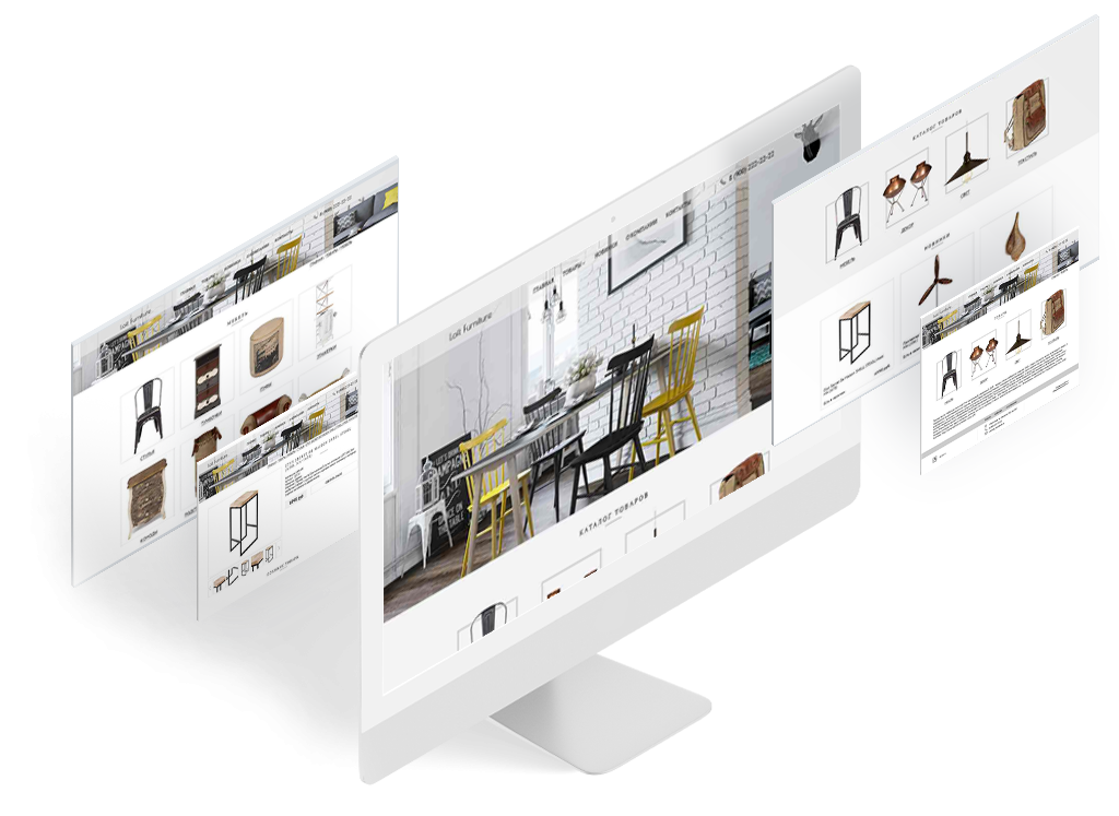 Сайт для каталога мебели в стиле loft